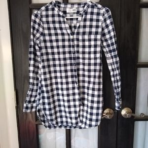 Old Navy blue and white buffalo check tunic